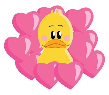 A cute baby yellow duck with rosy cheeks surrounded by pink colored hearts, vector, color drawing or illustration.