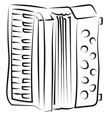 A harmonika sketch, illustration, vector on white background.