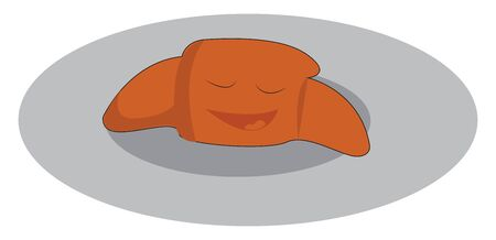 A delicious orange colored croissant in a plate, vector, color drawing or illustration.