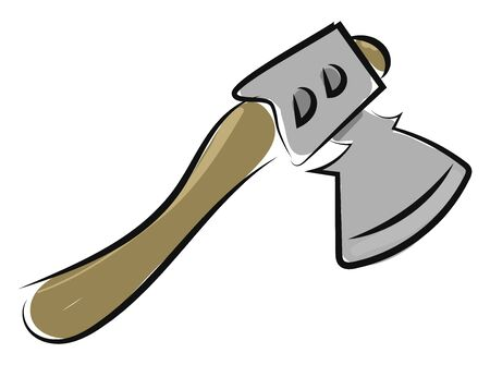 Small axe drawing, illustration, vector on white background. Illustration