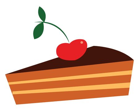 A sweet chocolate pie with a cherry on its top, vector, color drawing or illustration.