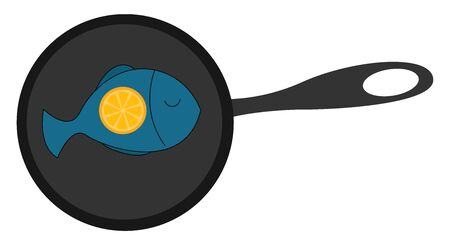 Fried fish in a pan with lemon, illustration, vector on white background. Ilustracja