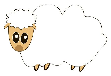 Fat sheep, illustration, vector on white background. Stock Illustratie