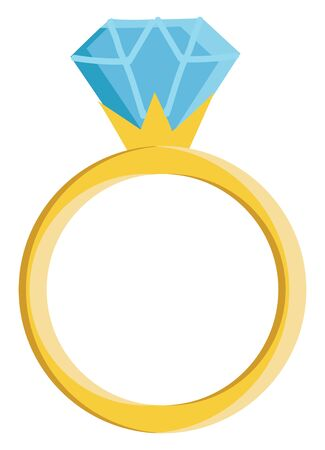 A gold ring with a diamond stone, vector, color drawing or illustration.
