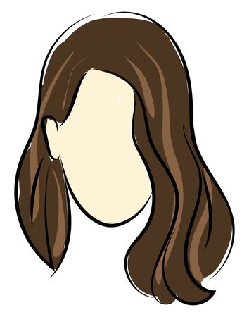 Brunette girl sketch, illustration, vector on white background.