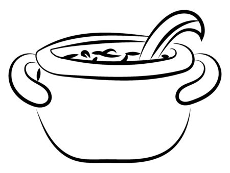 Pot with soup drawing, illustration, vector on white background Standard-Bild - 132779575