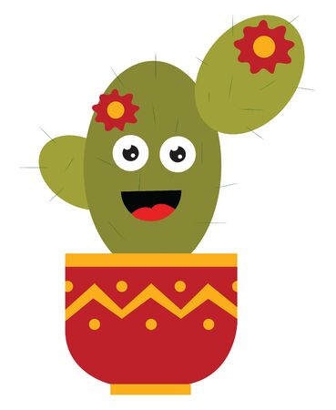 A happy cactus with a flower in a pot, vector, color drawing or illustration. Reklamní fotografie - 132781147