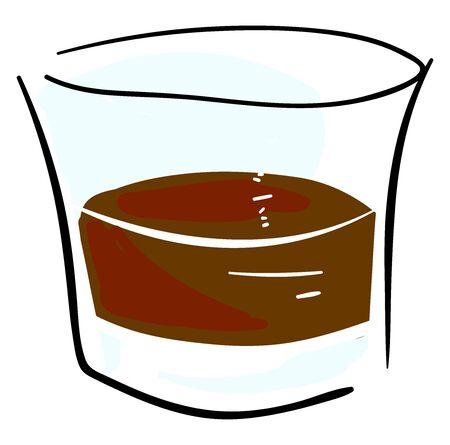 Whiskey glass, illustration, vector on white background.