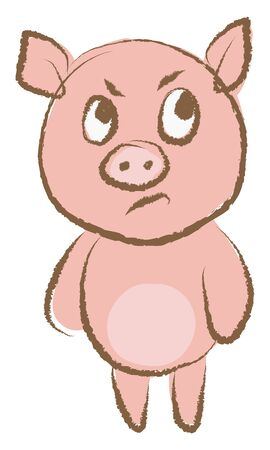 Angry pig, illustration, vector on white background.