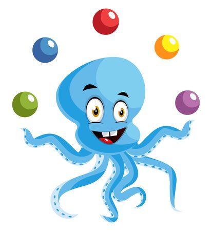 Octopus juggling, illustration, vector on white background.