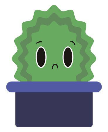 Sad little cactus, illustration, vector on white background.