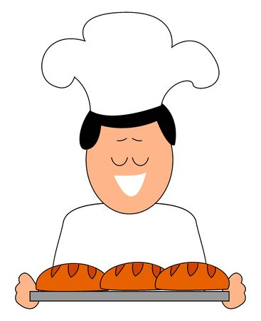 Baker with breads, illustration, vector on white background. Ilustracja