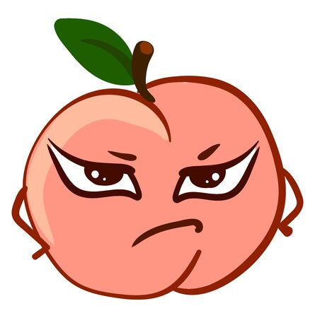 Angry pink peach, illustration, vector on white background.