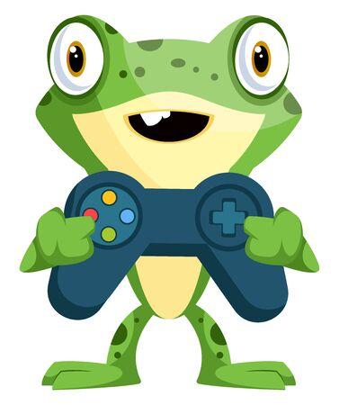 Cute baby frog holding a joystick, illustration, vector on white background. Illustration