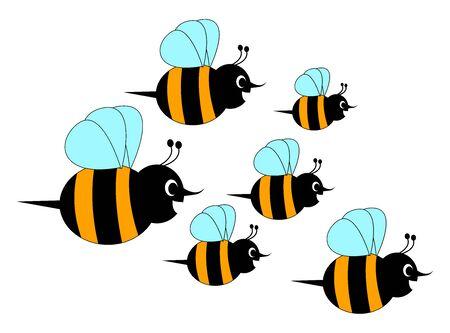 Bienenhorde, Illustration, Vektor auf weißem Hintergrund.