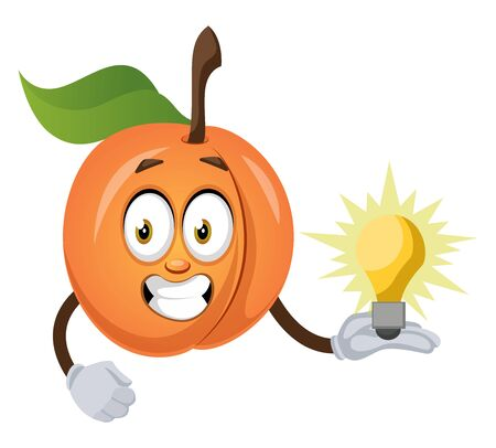 Apricot with lighting bulb, illustration, vector on white background.