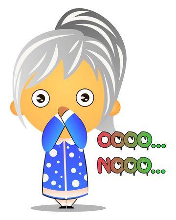 Grandma feeling guilty , illustration, vector on white background.