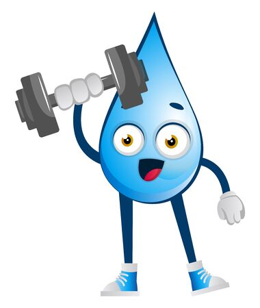 Water drop lifting weights, illustration, vector on white background. Reklamní fotografie - 132794543