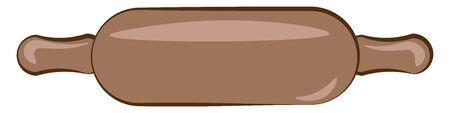 A big rolling pin in wood, vector, color drawing or illustration. Ilustração