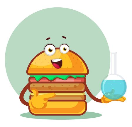 Burger is holding a laboratory flask, illustration, vector on white background. Archivio Fotografico - 132794557