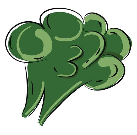 A broccoli shaped like a tree with eyes closed, vector, color drawing or illustration.