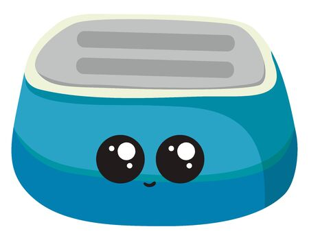 Cute blue toaster, illustration, vector on white background.  イラスト・ベクター素材