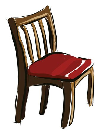 A wooden comfortable chair with a red seat, vector, color drawing or illustration.