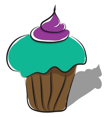 A tasty green cup cake with a purple cream on the top, vector, color drawing or illustration.