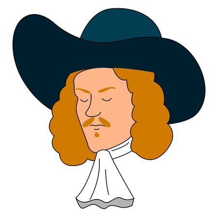 Musketeer with blue hat, illustration, vector on white background.