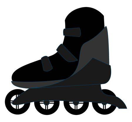 Black roller skates, illustration, vector on white background. Illustration