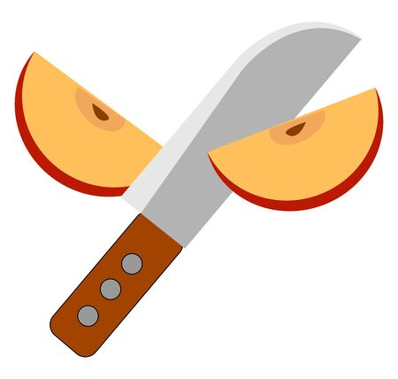 Slicing an apple, illustration, vector on white background. Ilustrace