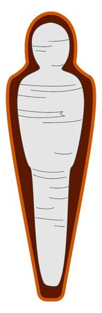 Mummy in coffin, illustration, vector on white background.