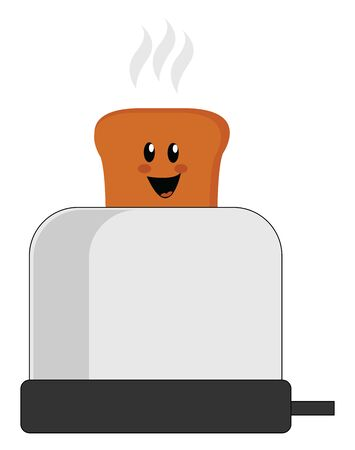 Happy toast bread, illustration, vector on white background.