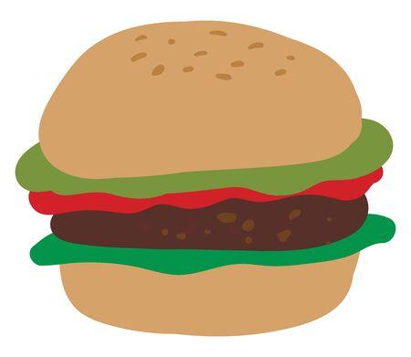 Big hamburger, illustration, vector on white background. Illustration