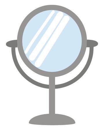 Ein grauer Spiegel mit Ständer, Vektor, Farbzeichnung oder Illustration.