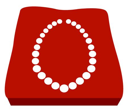 Pearl necklace, illustration, vector on white background.