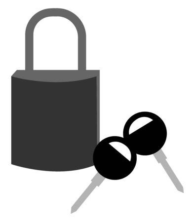 Padlock with keys, illustration, vector on white background.