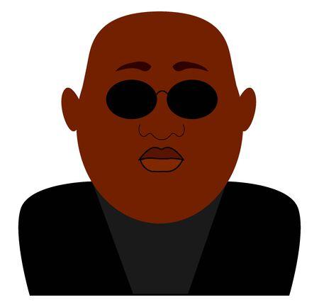 Black man wearing sunglasses, illustration, vector on white background.