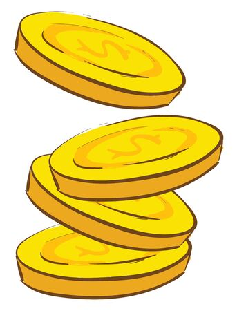 A 4 pieces gold coins, vector, color drawing or illustration.