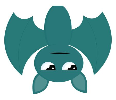 A green bat hanging upside down with a sparkling eyes, vector, color drawing or illustration.