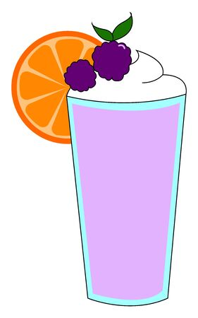 Purple jucie with orange, illustration, vector on white background Illustration