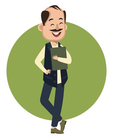 Happy man with notebook, illustration, vector on white background.