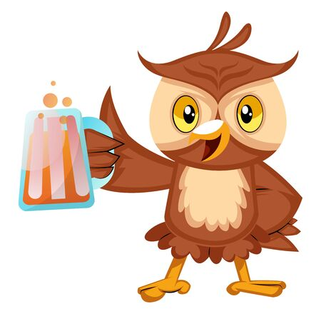 Owl with beer, illustration, vector on white background.
