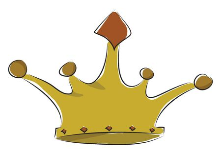 A shiny golden crown with red stone at the center, vector, color drawing or illustration. Ilustração
