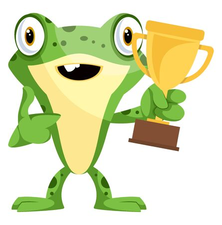 Happy frog mascot won a trophy, illustration, vector on white background. Illustration