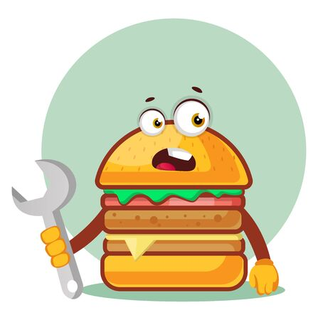 Burger is holding a monkey wrench, illustration, vector on white background. Archivio Fotografico - 132795013