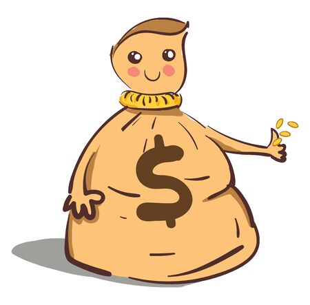 A cartoon of a cute money bag with rosy cheeks, vector, color drawing or illustration.