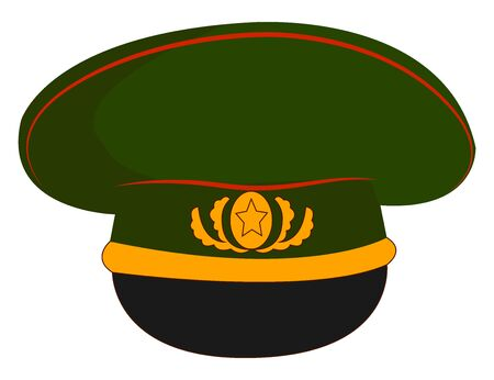 Military hat, illustration, vector on white background.