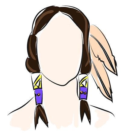 Indian with feathers, illustration, vector on white background