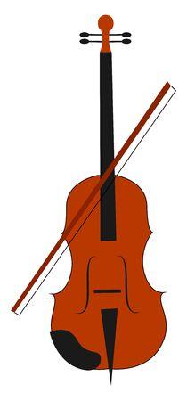 Viola instrument, illustration, vector on white background.